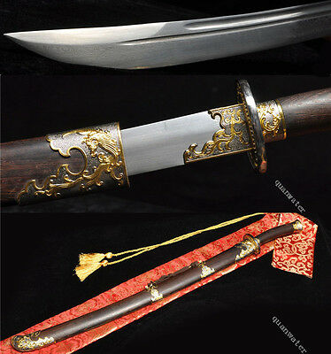 37' Rosewood Damascus Folded Steel Blade Hand Made Chinese Sword Qing Dao