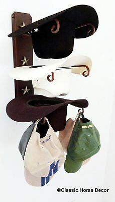 American Made Cowboy Hat Rack with Stars Powder Coated Rust with Gold Stars