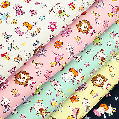 Cotton Fabric FQ Elephant Lion Dog Rabbit Bird Butterfly Frog Doll Cartoon VK73