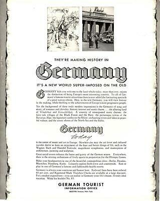 1935 Pre-WWII Germany German History Tourist Ad - Antique Vtg Print 14x11""