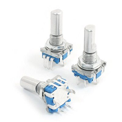 3Pcs 6mm D Shaft 18 Position 360 Degree Rotary Encoder w Push Button LW