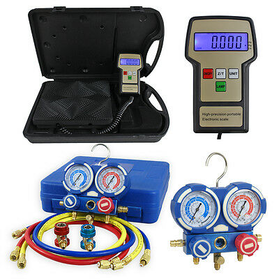 AC Manifold Gauge Set R134a/R22 W/ Digital Electronic Refrigerant Charging Scale