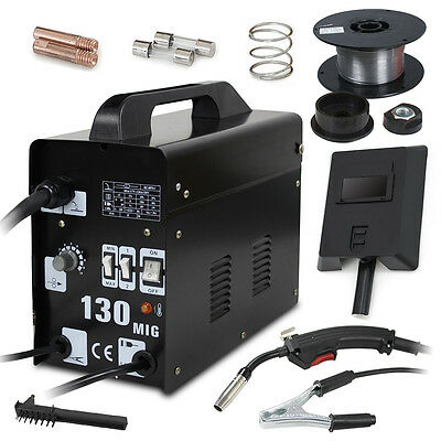 MIG 130 Welder Gas Less Flux Core Wire Automatic Feed Welding Machine W/ Mask