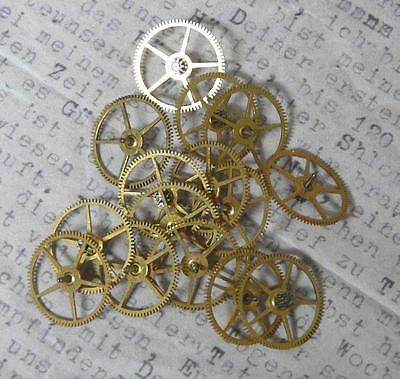 Steampunk Watch Cogs Gears Bright Gold Brass 12-13mm x 15PC Pack