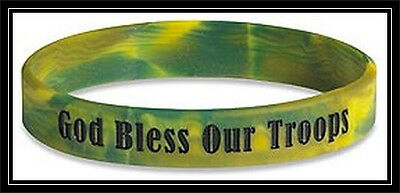 God Bless Our Troops GREEN rubber silicone bracelet wristband ARMY Navy MARINES