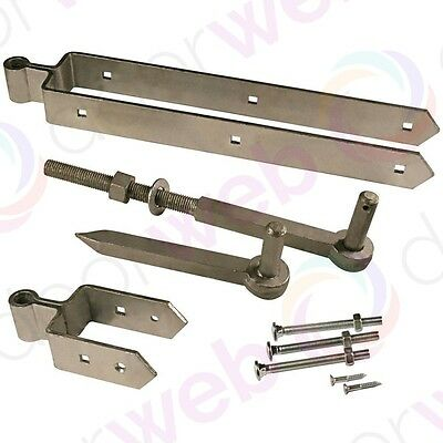 HEAVY DUTY FIELD GATE HINGE Set Farm Hanging Kit Pack Strong GALVANISED STEEL