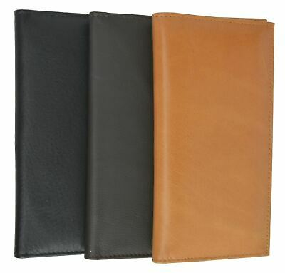New Men's Premium Leather Basic Checkbook Cover with Box