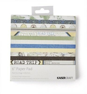 """Kaisercraft 6"""" x 6"""" Scrapbooking Paper Pad PP805 ~ Pack Your Bags"""
