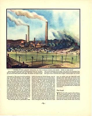 """1934 Nickel Plant Painting by Stanley Wood - Antique Vtg Print 14x11"""" Color"""