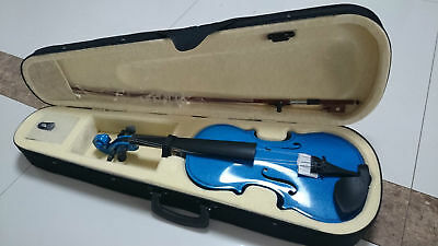 Student Acoustic Violin Full 1/4 Maple Spruce with Case Bow Rosin Blue Color