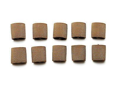 "1"" Mil-spec Elastic Webbing Strap Keepers - Coyote Brown - 10 Pack"
