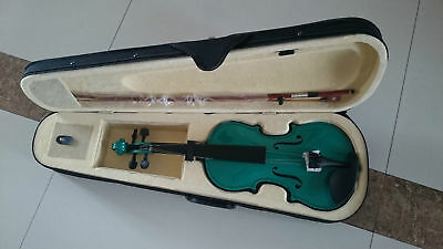 Student Acoustic Violin Size 3/4 Maple Spruce with Case Bow Rosin Green Color