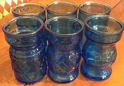 Lot Of 6 Rare Blue Wheaton Nj Circa 1946 Glass Cheese Jars Various Patterns Usa