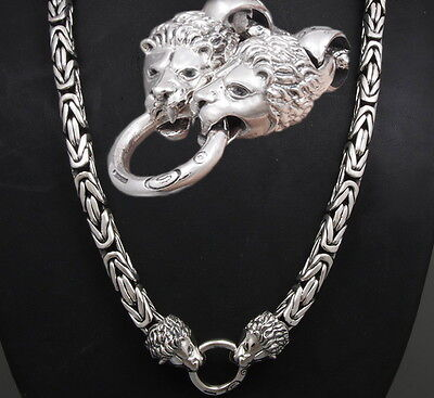 "32"" Heavy Lion Bali Byzantine 925 Sterling Silver Mens Necklace King Chain Pre"