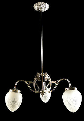 Antique French empire style bronze chandelier 3 glass tulips & globe