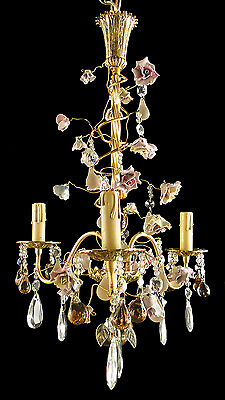 Antique French style bronze chandelier Crystal almond Porcelain flower 3 candles
