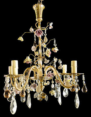 Antique French style bronze chandelier Crystal almond Porcelain flower 5 candles