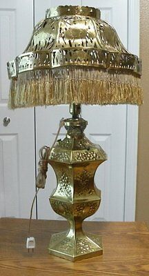 Antique Duplex dual burner oil lamp solid brass hand made conversion