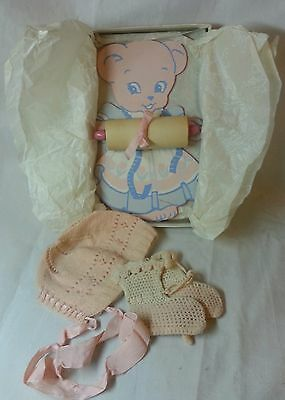 Antique baby bonnet, booties, 1945 Craftways  pink bear wall height chart