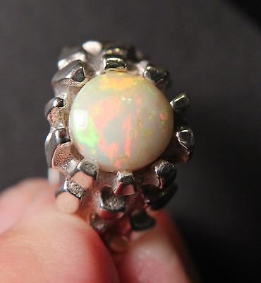 Bold Sterling Silver Ring Large 2.27 Carat Multicolor Natural Ethiopian Opal