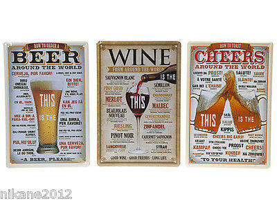 wall plaque vintage tin retro shabbychic sign picture frame hook metal wine beer