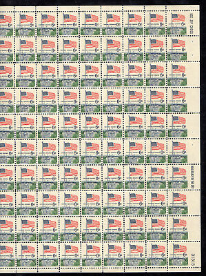 US # 1338 (1968) 6c-EFO: Imperforate right margin stamps-Full Sheet-Very Scarce!