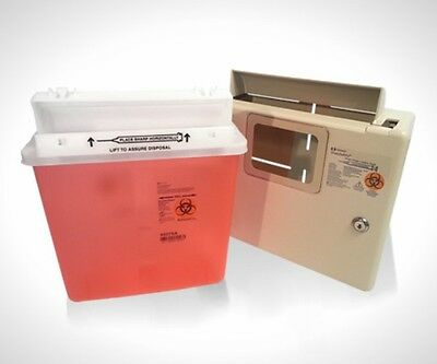 Wall Mount Locking Cabinet WITH 5 Qt sharps container- FREE SHIPPING