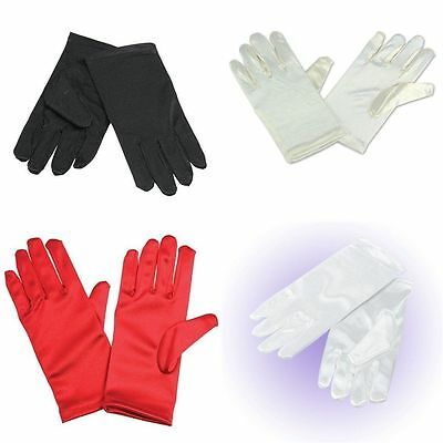 Childs White Red Black Ivory Silk Look Bridesmaid Flower Girl Magician Gloves