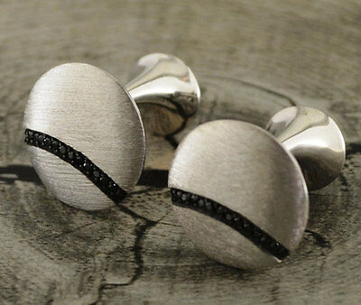 Silver Cuff Links with Small Black CZ Stones-Wedding Jewelry,Grooms Wear!!!