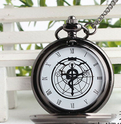 New Black tone Fullmetal Alchemist Pocket Watch Cosplay Edward Elric Anime Hot
