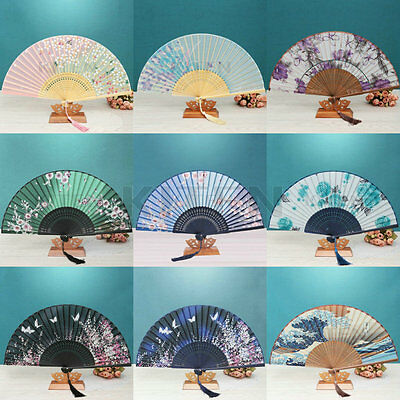 Chinese Japanese Bamboo Silk Hand Fan Folding Pocket Purse For Wedding Party