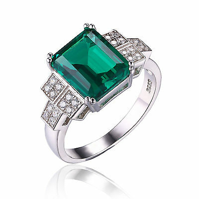 JewelryPalace Women Luxury Nano Russian Emerald Ring Solid 925 Sterling Silver