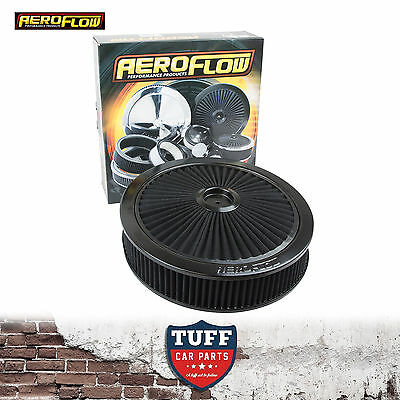 "Aeroflow Black Full Flow Air Cleaner Assembly 14"" x 3"" with Washable Filter New"