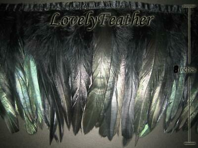 Coque feather fringe of black irridescent color 10 yards trims Free Shippings