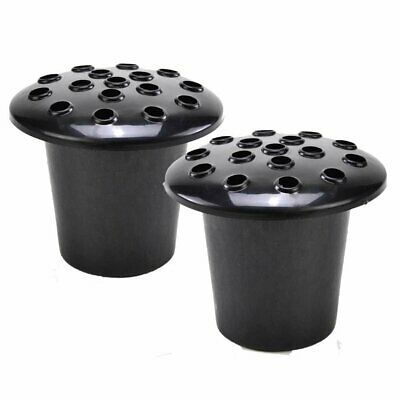 Set of 2 Black Memorial Grave Vases & Lids For Fresh & Artificial Flowers Pot Ho