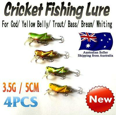 4X Like Fishing Cricket Lure 5cm 3.5g Cod Bass Yellow Belly Bream Whiting