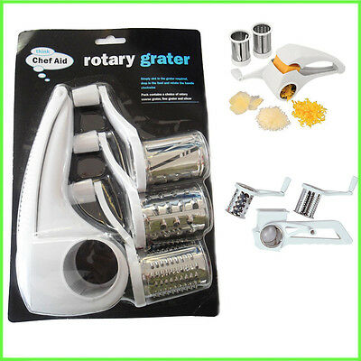 Chef Aid Multi Rotary Grater White Kitchen Slicer Hand Tool Plastic Rotating NEW