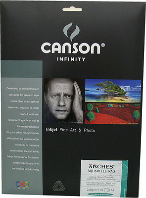 Canson Infinity Arches Aquarelle Rag A4 Fine Art photo Inkjet paper 240gsm