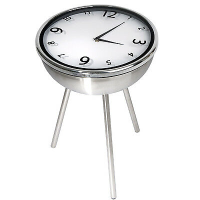Retro Clock Stainless Steel Side Table Coffee Table Bedside Table