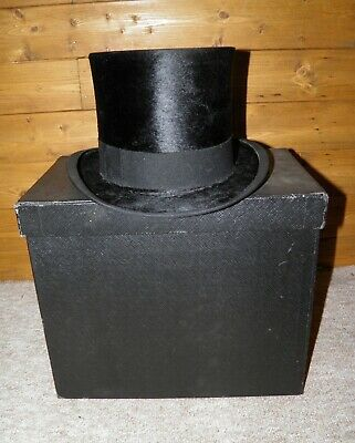 Vintage Black Top Hat And Box Made By Christys' London Measuring 56 cm