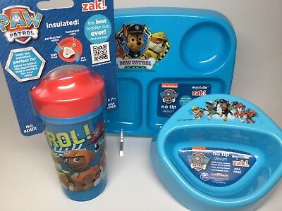 PAW PATROL-5 PC.-PLATE, BOWL & CUP SET-includes flatware set. MICROWAVABLE