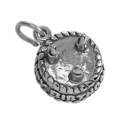4ca377628 STERLING SILVER HAPPY Birthday Cake Charm 13 16 18 21 30 40 50 60 70 ...