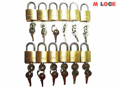 LOT OF 12 Small Brass Padlock (20MM) Mini Tiny Lock Box Jewelry drawer KEY ALIKE