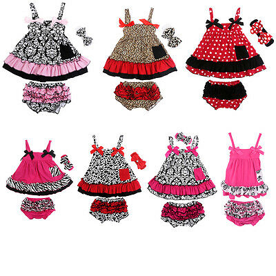 2pcs/Set Baby Girl Outfits Top Dress + Pants Bloomers Kids Toddler Clothes 0-24M