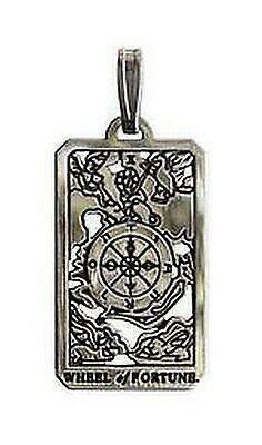 Tarot Card Jewelry Wheel of Fortune Pendant Pagan Sterling Silver Charm #SMW