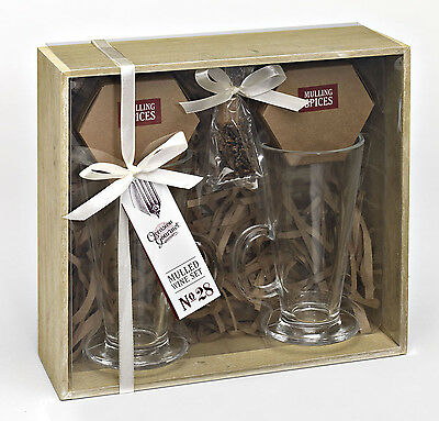 Mulled Wine Glasses With Selection of Flavouring Spices -  Gift Set for 2