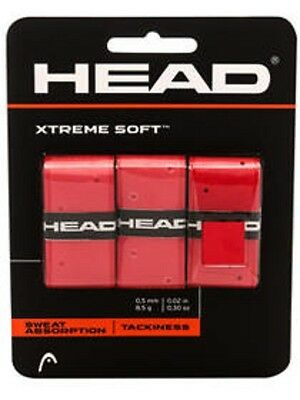 NEW Head Xtreme Soft Tennis Overgrip red 3 Pack Xtremesoft over grip