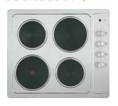 Cookology SEP600SS 60cm Stainless Steel Electric Hob, 4 Zone Solid Plate Cooktop