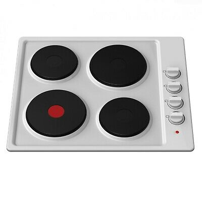 Cookology 60cm White Built-in Solid Plate Electric Hob | SEP600WH Enamel Hotplat