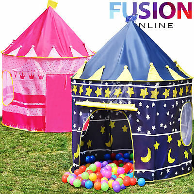 Childrens Kids Pop Up Castle Playhouse Girls Princess / Boys Wizard - Play Tent